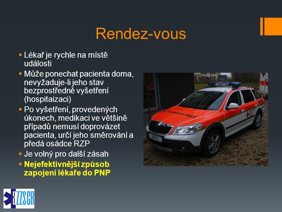 Rendez-vous  Lékař je rychle na místě události  Může ponechat pacienta doma, nevyžaduje-li jeho stav bezprostředně vyšetření (hospitaizaci)  Po vyš