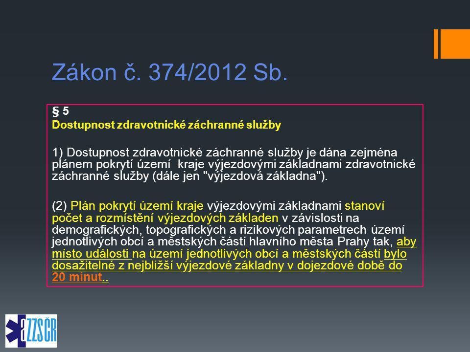 Zákon č. 374/2012 Sb. § 5 Dostupnost zdravotnické záchranné služby 1) Dostupnost zdravotnické záchranné služby je dána zejména plánem pokrytí území kr