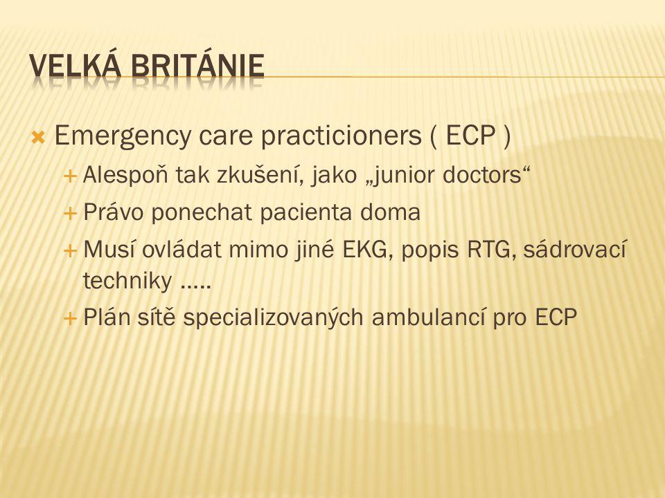 """ Emergency care practicioners ( ECP )  Alespoň tak zkušení, jako """"junior doctors""""  Právo ponechat pacienta doma  Musí ovládat mimo jiné EKG, popis"""