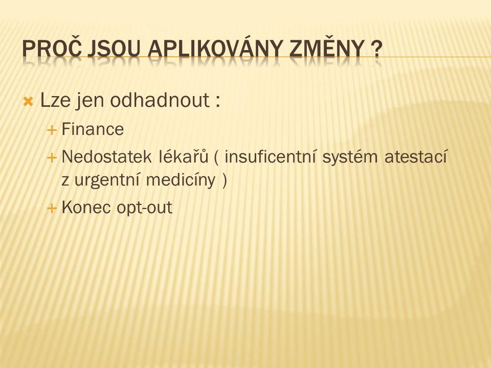  Lze jen odhadnout :  Finance  Nedostatek lékařů ( insuficentní systém atestací z urgentní medicíny )  Konec opt-out