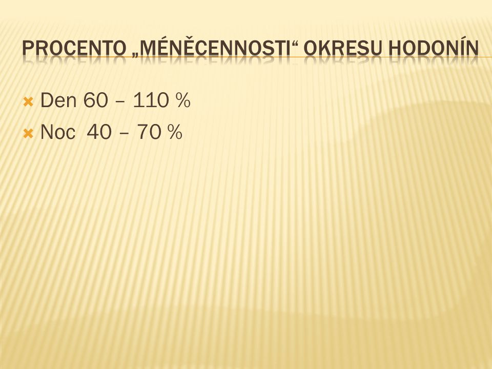  Den 60 – 110 %  Noc 40 – 70 %