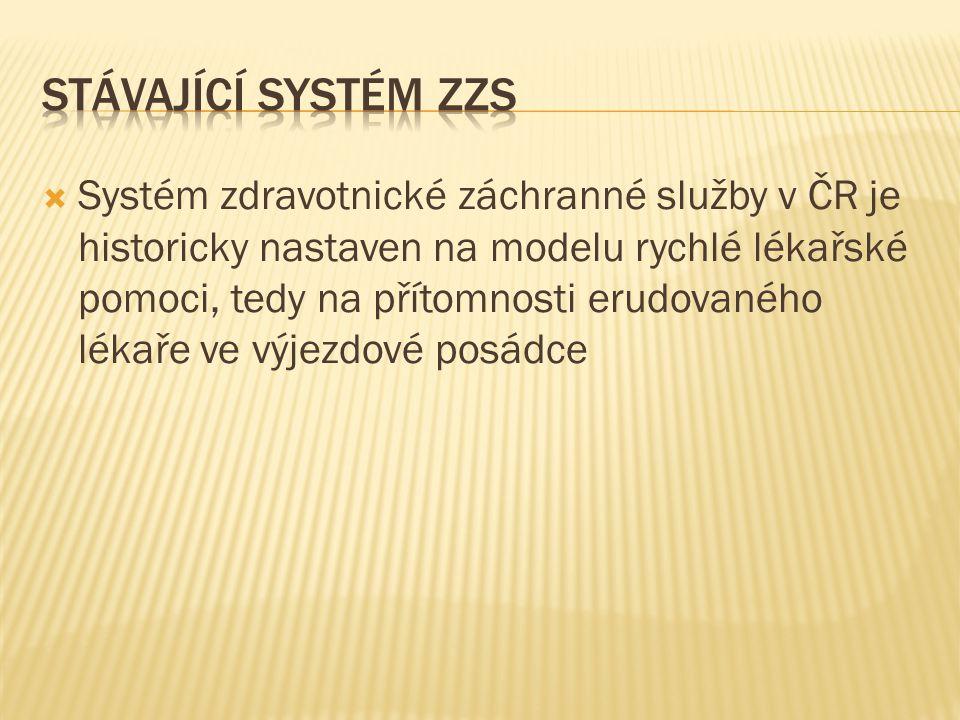  Systém zdravotnické záchranné služby v ČR je historicky nastaven na modelu rychlé lékařské pomoci, tedy na přítomnosti erudovaného lékaře ve výjezdo