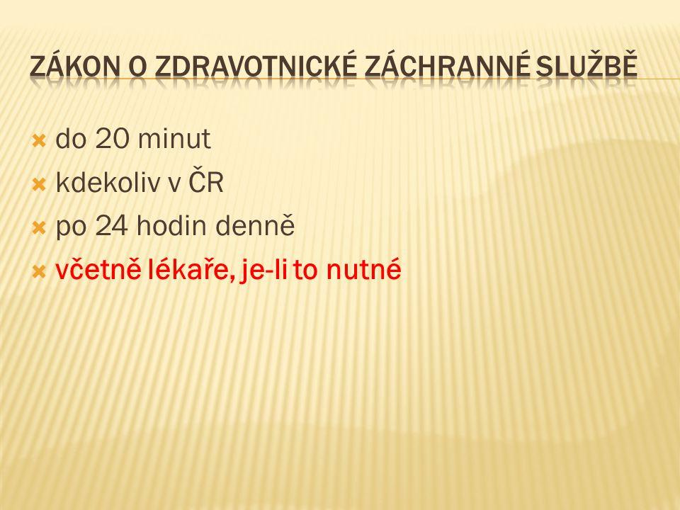  do 20 minut  kdekoliv v ČR  po 24 hodin denně  včetně lékaře, je-li to nutné