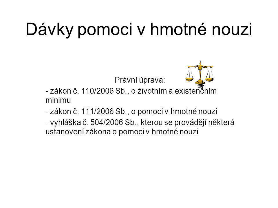 Dávky pomoci v hmotné nouzi Právní úprava: - zákon č. 110/2006 Sb., o životním a existenčním minimu - zákon č. 111/2006 Sb., o pomoci v hmotné nouzi -