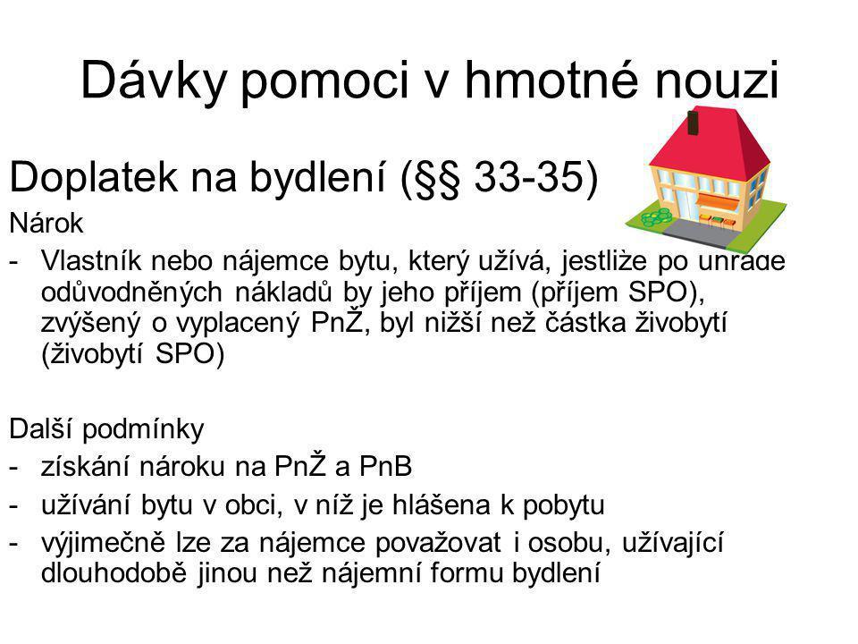 Dávky pomoci v hmotné nouzi Doplatek na bydlení (§§ 33-35) Nárok -Vlastník nebo nájemce bytu, který užívá, jestliže po úhradě odůvodněných nákladů by