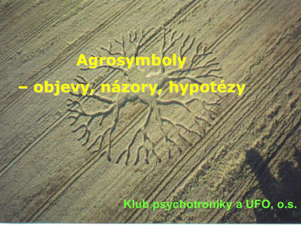 Agrosymboly v ČR Agrosymboly jsou kruhy, mezikruží, ovály, čtverce, obdélníky, trojúhelníky a jiné geometrické obrazce a jejich nesčetné kombinace ( symboly ) na polích a zemědělských plochách ( agro ), které jsou vytvořeny polehlými zemědělskými plodinami, přičemž toto polehnutí nebylo způsobeno jakoukoli běžnou mechanickou metodou, ale zatím dosud neznámým vlivem.