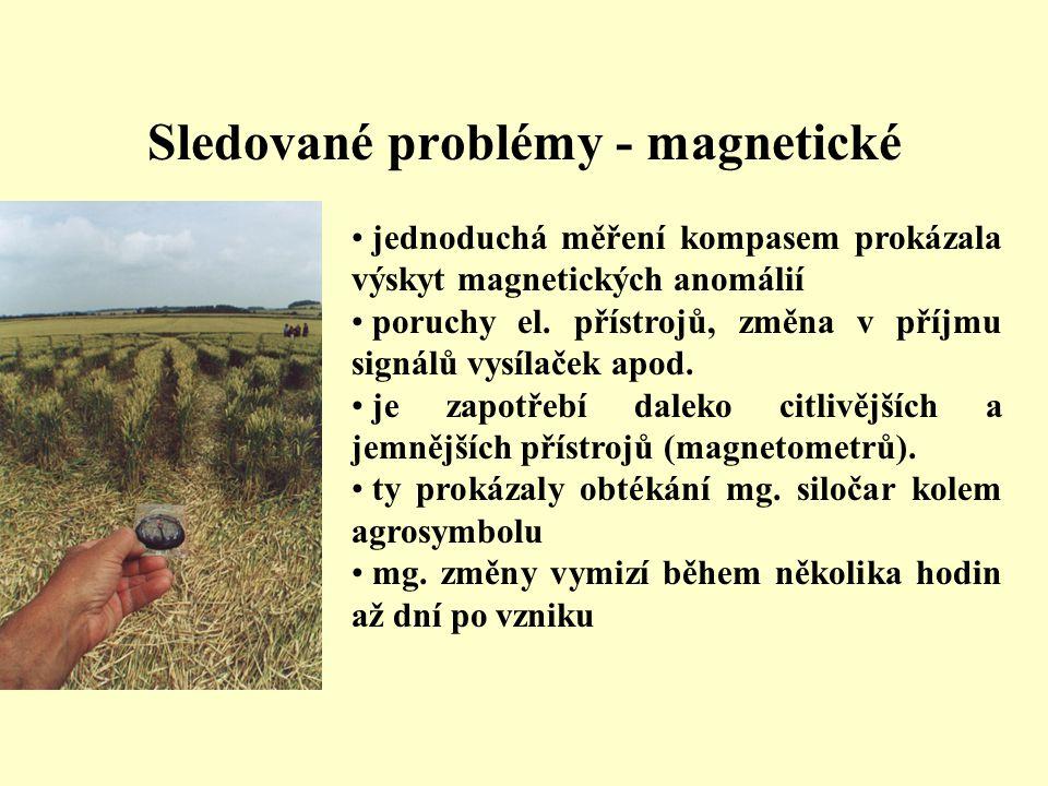 Sledované problémy - magnetické • jednoduchá měření kompasem prokázala výskyt magnetických anomálií • poruchy el. přístrojů, změna v příjmu signálů vy