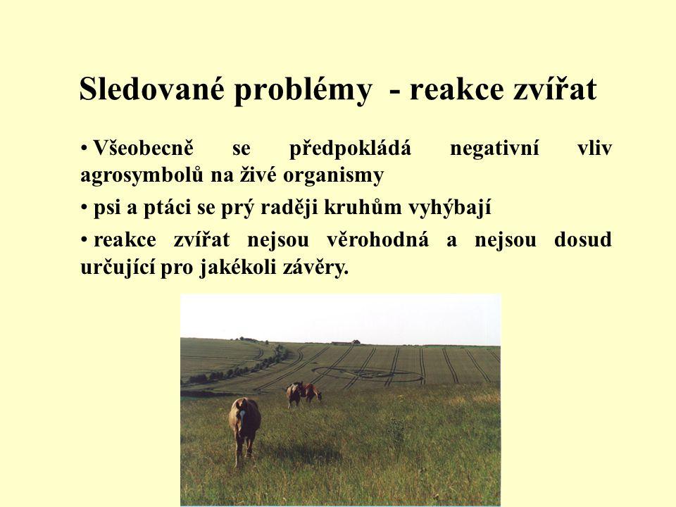 Sledované problémy - reakce zvířat • Všeobecně se předpokládá negativní vliv agrosymbolů na živé organismy • psi a ptáci se prý raději kruhům vyhýbají