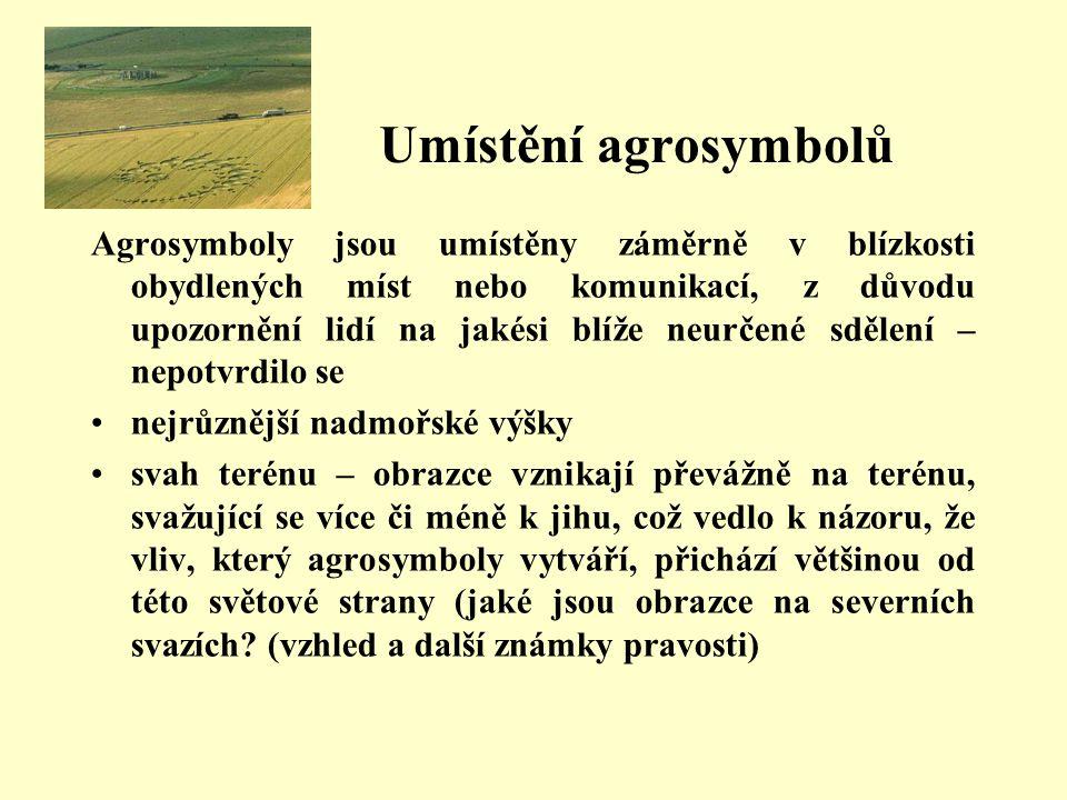 Umístění agrosymbolů Agrosymboly jsou umístěny záměrně v blízkosti obydlených míst nebo komunikací, z důvodu upozornění lidí na jakési blíže neurčené