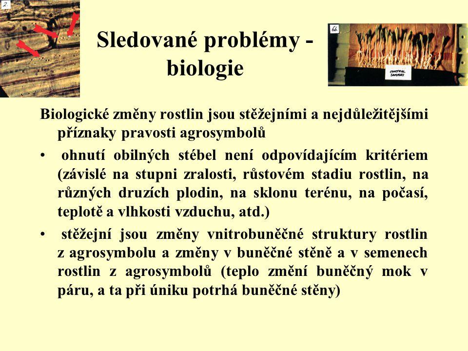Sledované problémy - biologie Biologické změny rostlin jsou stěžejními a nejdůležitějšími příznaky pravosti agrosymbolů • ohnutí obilných stébel není