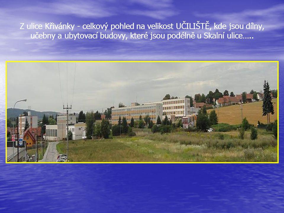 Pohled do ulice Skalní, vlevo část budovy Středního odborného účiliště, dále vpravo odbočka do ulice Křivánky a v pozadí bývalý Kamenolom na úpatí Záh