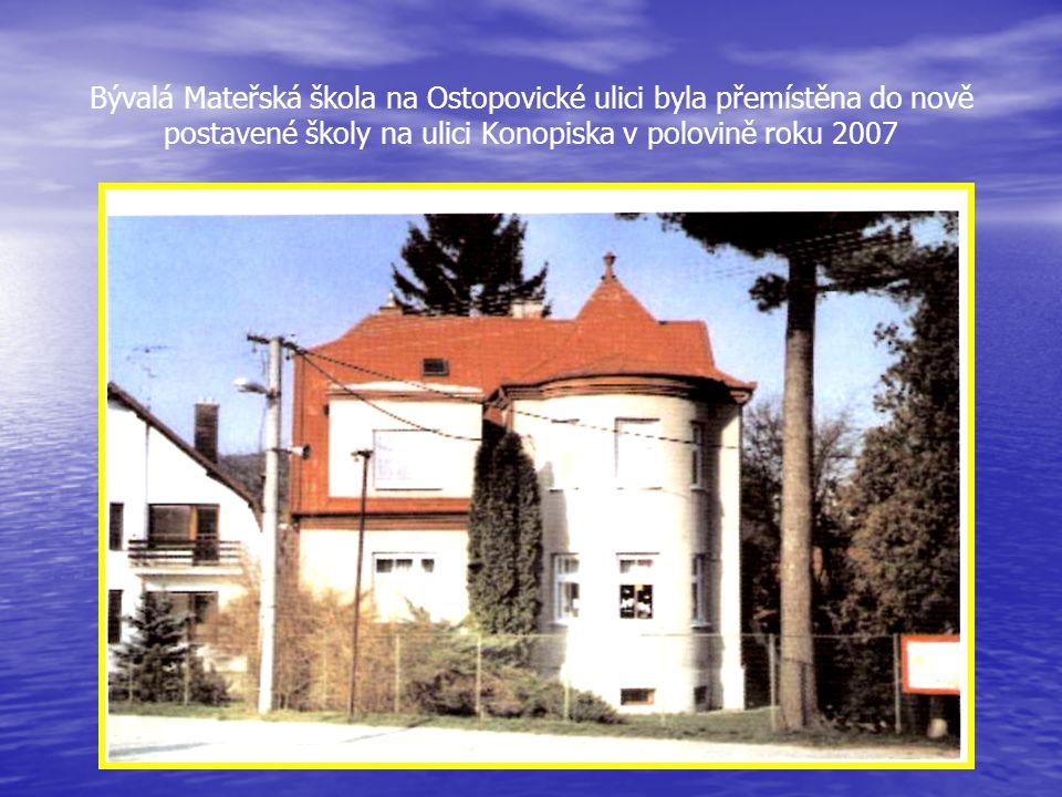 Ulice Ostopovická s domem BOSA - k využití volného času, při odbočení do ulice Konopiska je nová Mateřská škola a Bytový dům a při odbočení z Ostopovi
