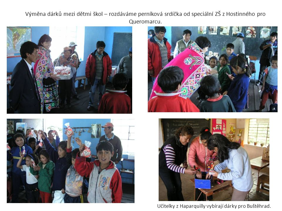 Výměna dárků mezi dětmi škol – rozdáváme perníková srdíčka od speciální ZŠ z Hostinného pro Queromarcu.