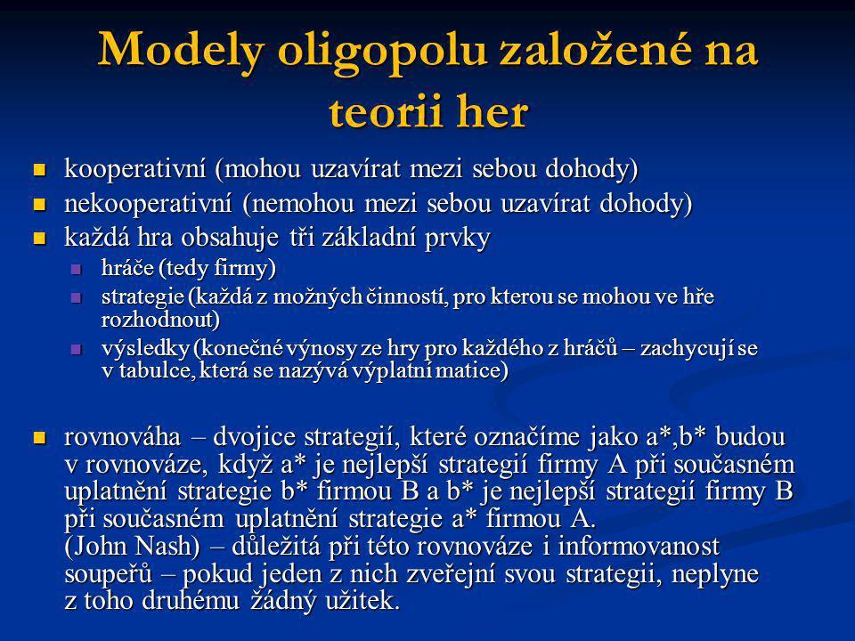 Modely oligopolu založené na teorii her  kooperativní (mohou uzavírat mezi sebou dohody)  nekooperativní (nemohou mezi sebou uzavírat dohody)  každ