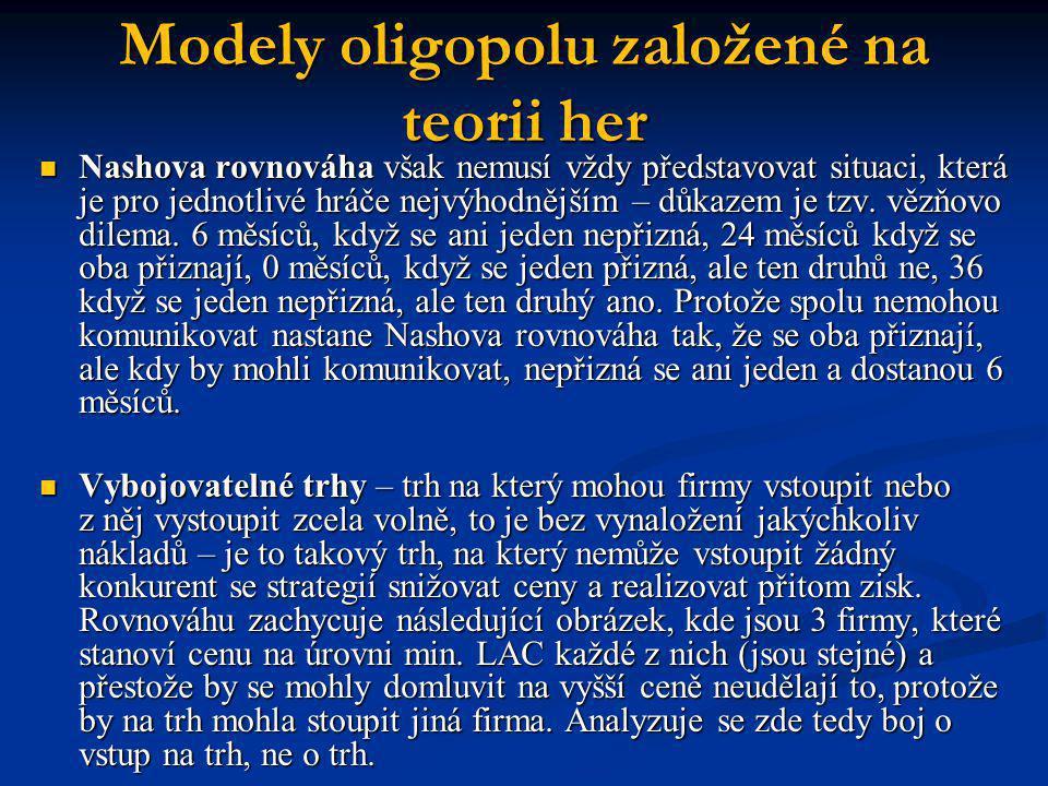 Modely oligopolu založené na teorii her  Nashova rovnováha však nemusí vždy představovat situaci, která je pro jednotlivé hráče nejvýhodnějším – důka