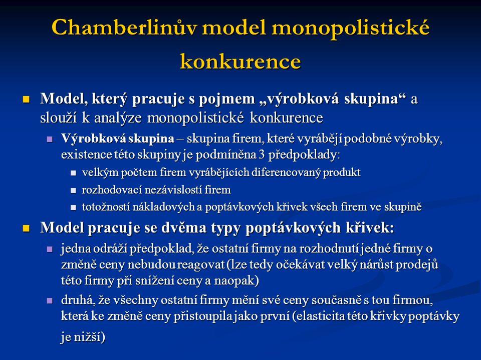 """Chamberlinův model monopolistické konkurence  Model, který pracuje s pojmem """"výrobková skupina"""" a slouží k analýze monopolistické konkurence  Výrobk"""