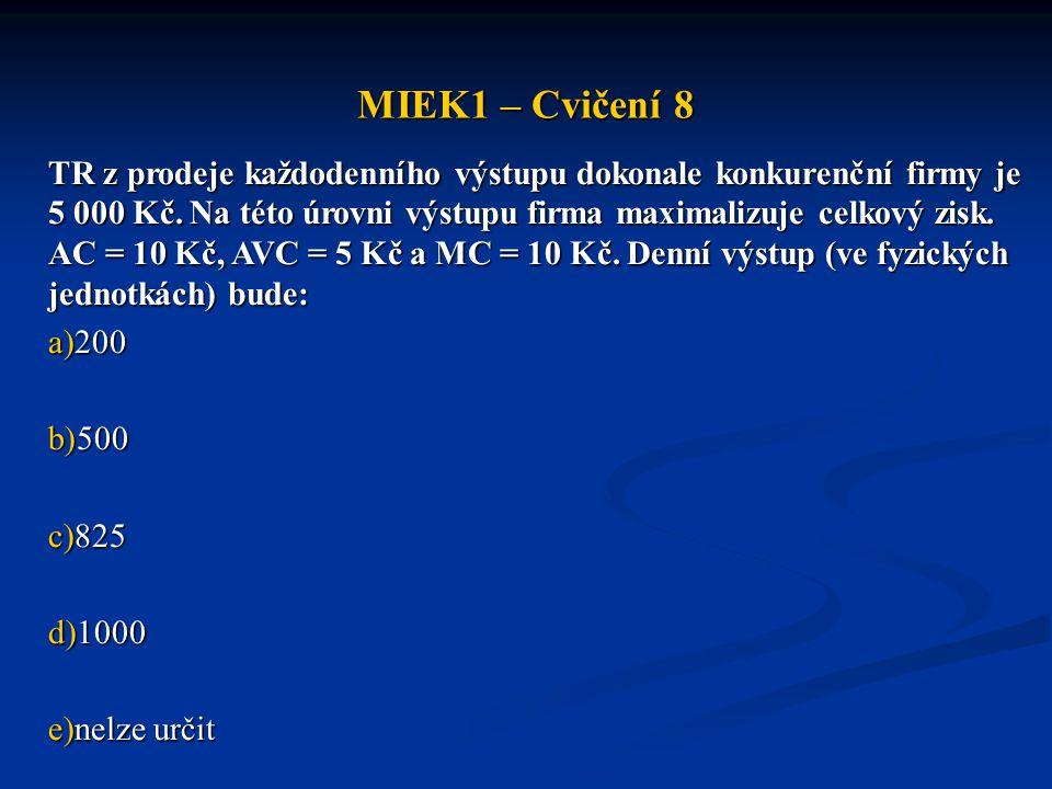 MIEK1 – Cvičení 8 TR z prodeje každodenního výstupu dokonale konkurenční firmy je 5 000 Kč. Na této úrovni výstupu firma maximalizuje celkový zisk. AC