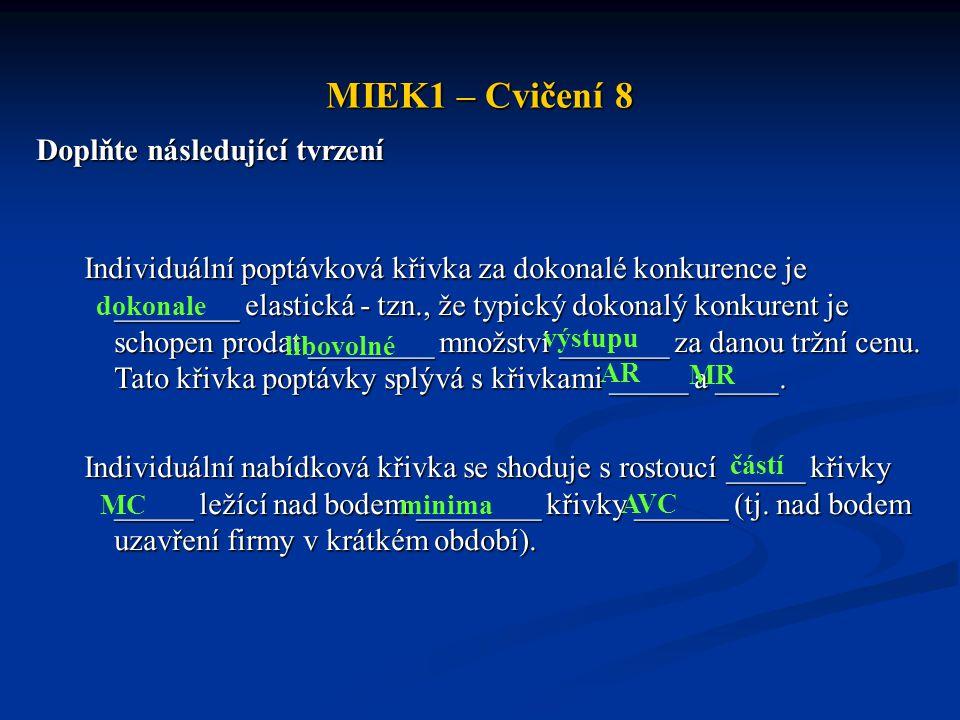 MIEK1 – Cvičení 8 Doplňte následující tvrzení Individuální poptávková křivka za dokonalé konkurence je ________ elastická - tzn., že typický dokonalý