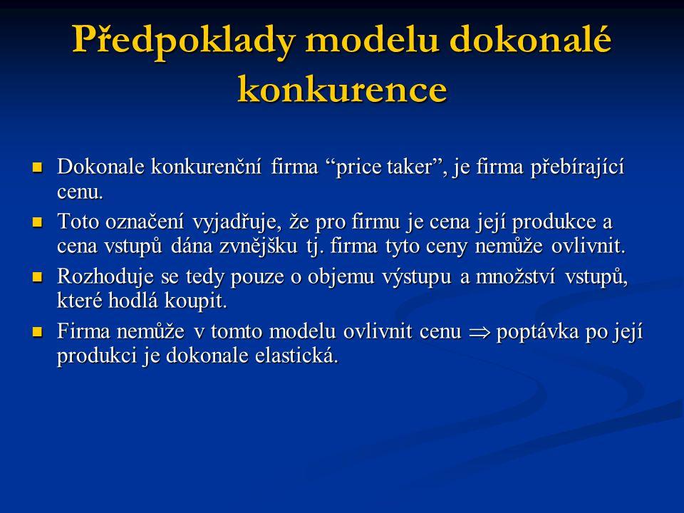"""Předpoklady modelu dokonalé konkurence  Dokonale konkurenční firma """"price taker"""", je firma přebírající cenu.  Toto označení vyjadřuje, že pro firmu"""