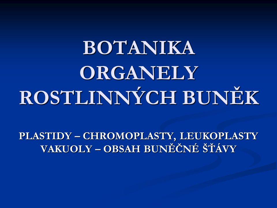 BOTANIKA ORGANELY ROSTLINNÝCH BUNĚK PLASTIDY – CHROMOPLASTY, LEUKOPLASTY VAKUOLY – OBSAH BUNĚČNÉ ŠŤÁVY