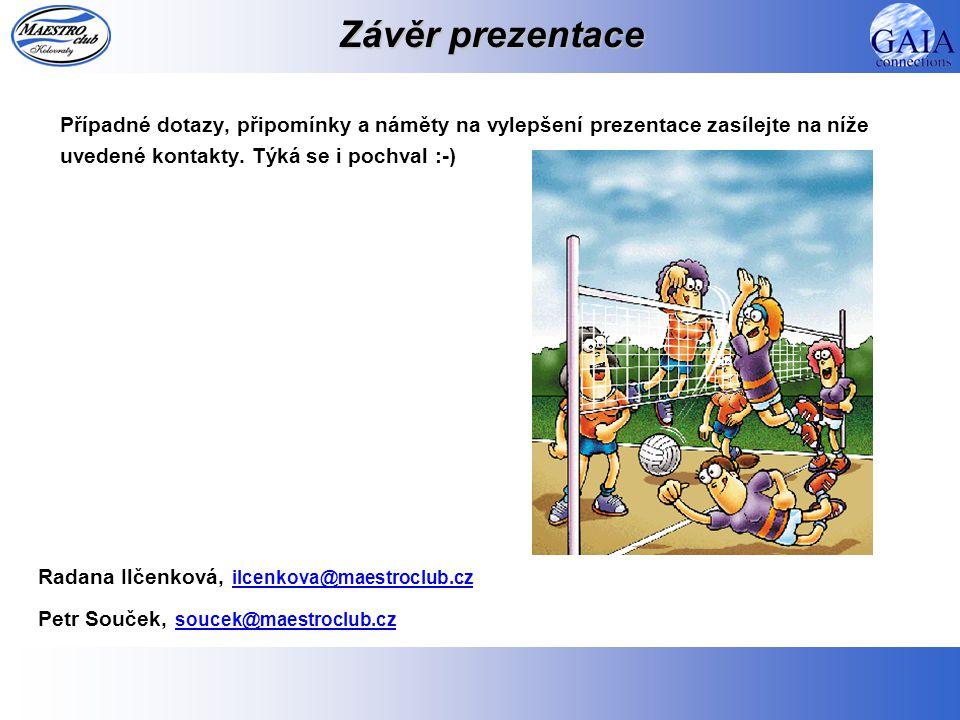 Závěr prezentace Případné dotazy, připomínky a náměty na vylepšení prezentace zasílejte na níže uvedené kontakty. Týká se i pochval :-) Radana Ilčenko