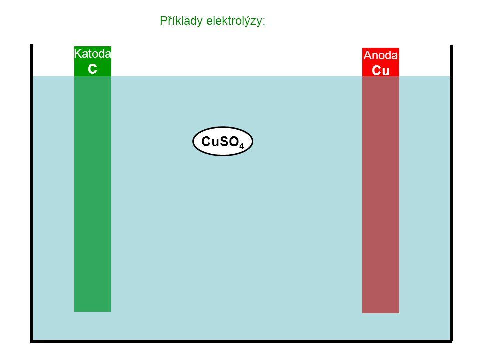 Příklady elektrolýzy: Katoda C Anoda Cu CuSO 4