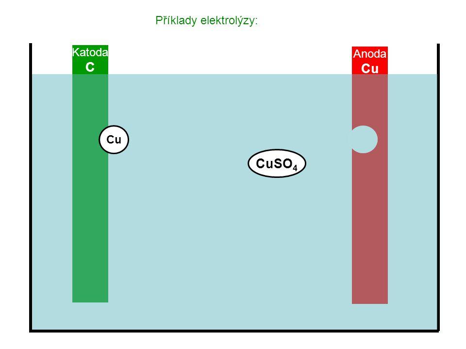 Příklady elektrolýzy: Katoda C Anoda Cu CuSO 4 Cu