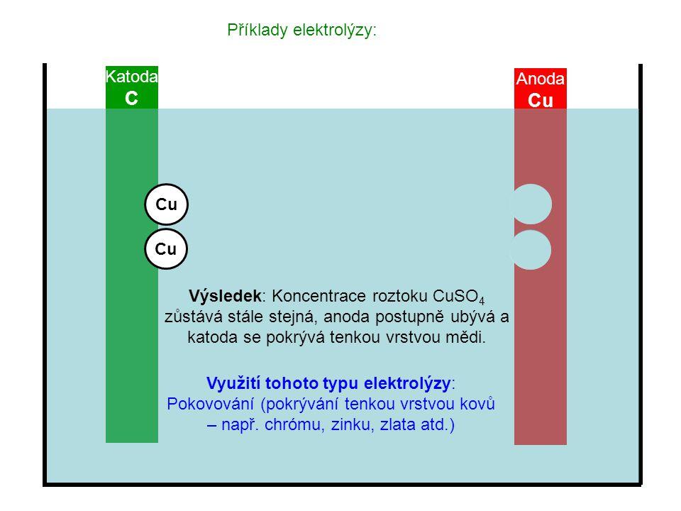 Příklady elektrolýzy: Katoda C Anoda Cu Výsledek: Koncentrace roztoku CuSO 4 zůstává stále stejná, anoda postupně ubývá a katoda se pokrývá tenkou vrs