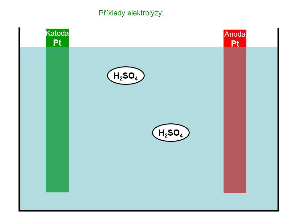 Anoda Pt Katoda Pt Příklady elektrolýzy: H 2 SO 4