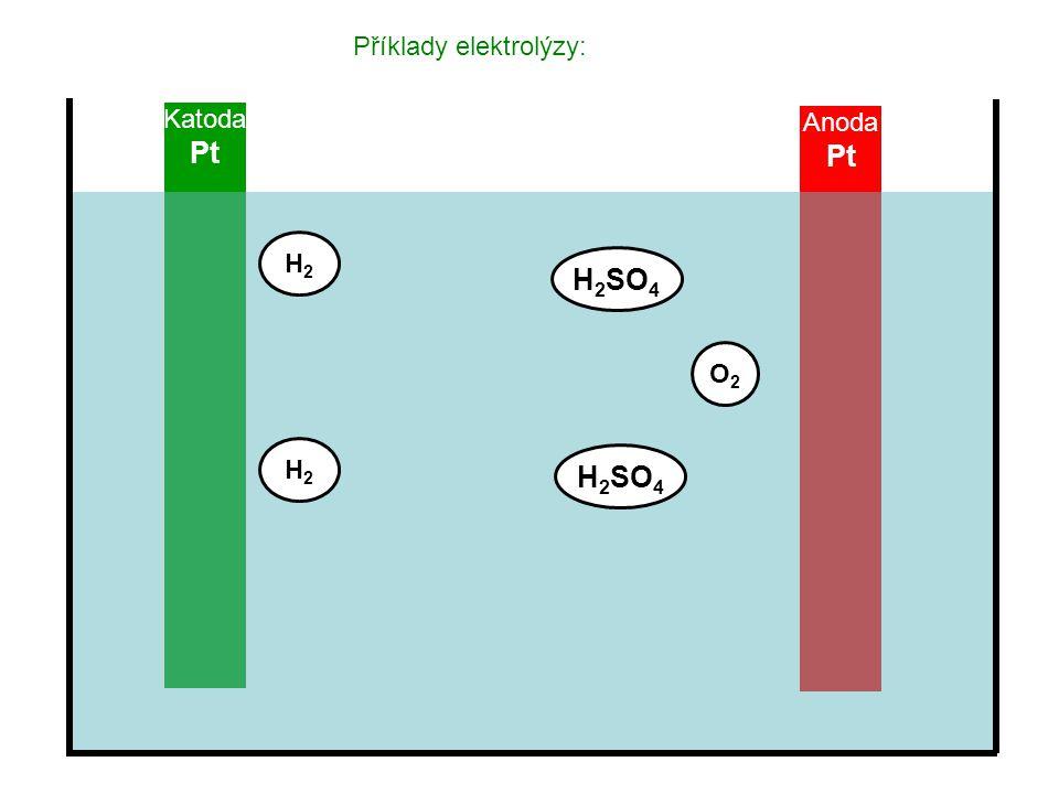 Anoda Pt Katoda Pt Příklady elektrolýzy: H2H2 H2H2 O2O2 H 2 SO 4