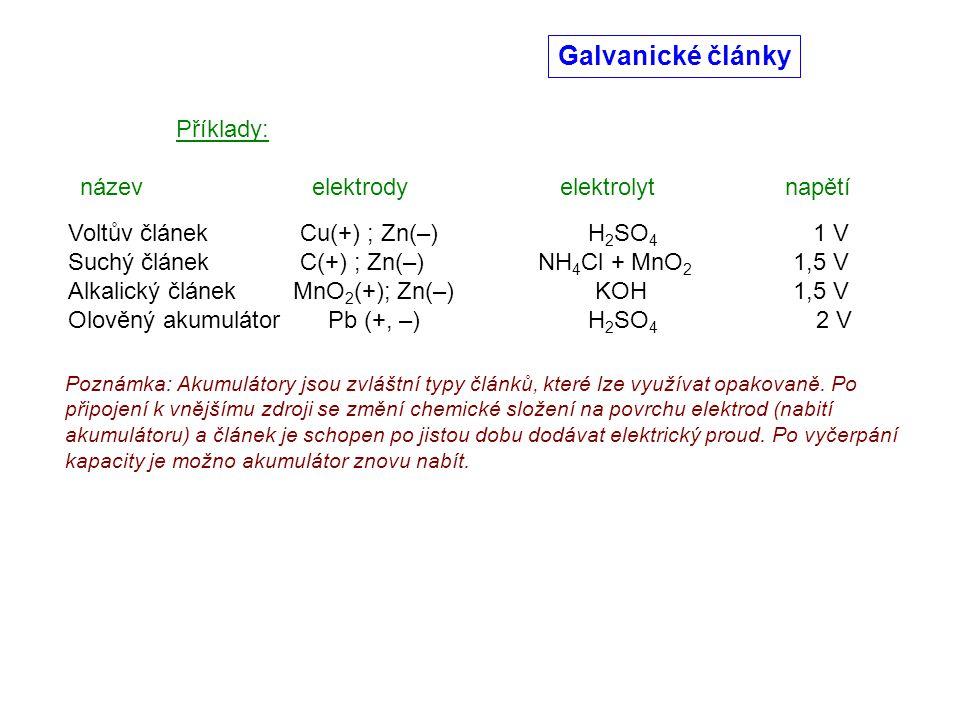 Galvanické články Příklady: název elektrody elektrolyt napětí Voltův článek Cu(+) ; Zn(–) H 2 SO 4 1 V Suchý článek C(+) ; Zn(–) NH 4 Cl + MnO 2 1,5 V