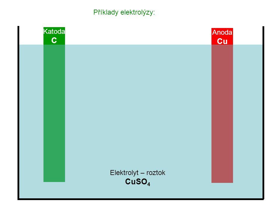 Příklady elektrolýzy: Katoda C Anoda Cu Elektrolyt – roztok CuSO 4