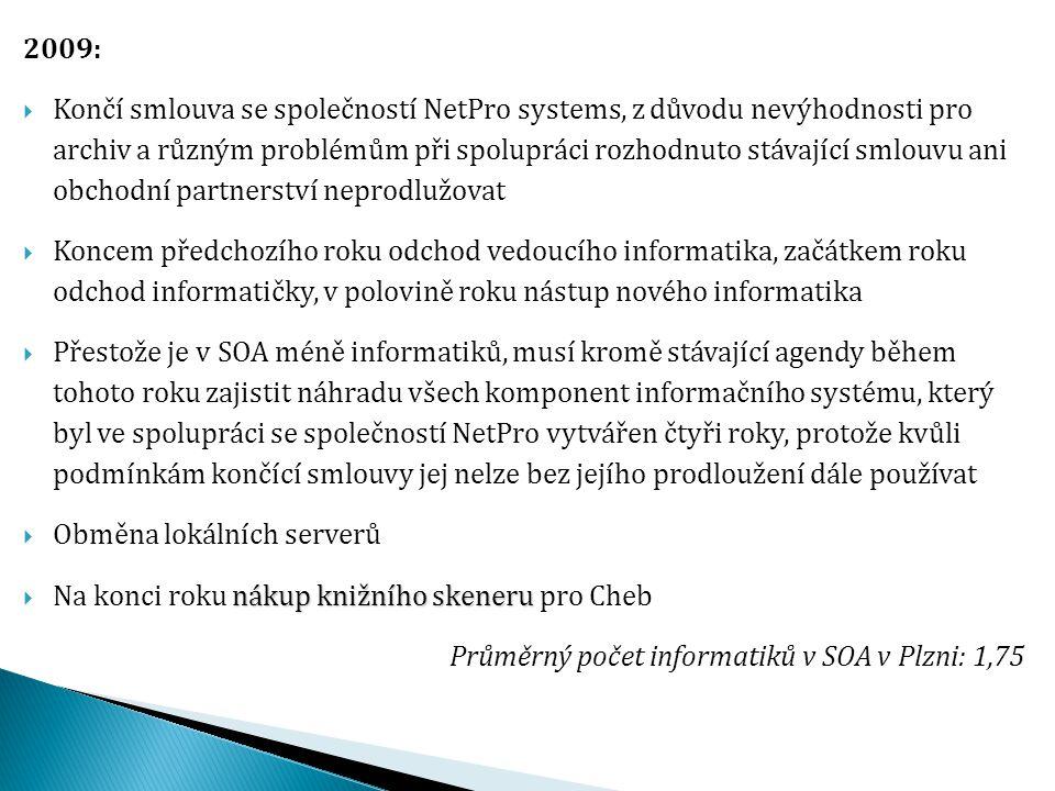 2009:  Končí smlouva se společností NetPro systems, z důvodu nevýhodnosti pro archiv a různým problémům při spolupráci rozhodnuto stávající smlouvu a