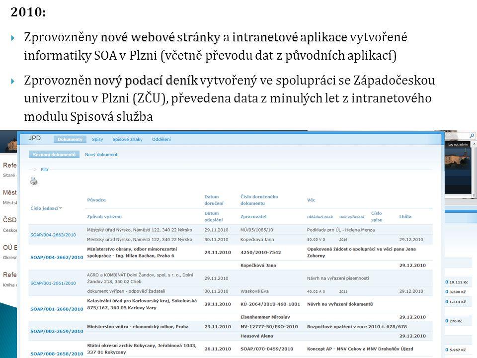 2010: nové webové stránky intranetové aplikace  Zprovozněny nové webové stránky a intranetové aplikace vytvořené informatiky SOA v Plzni (včetně přev