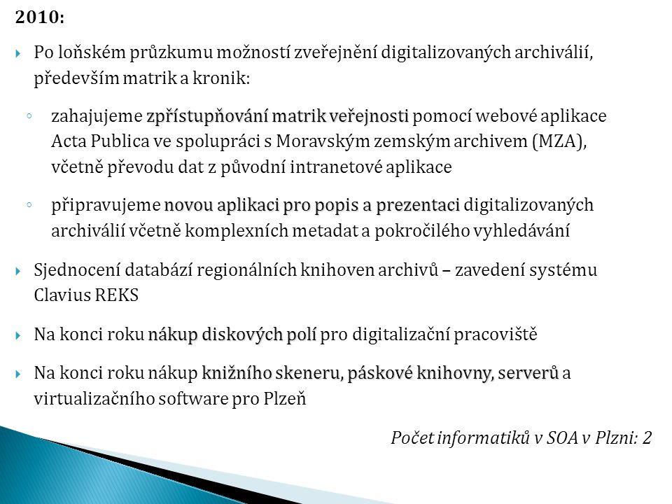 2010:  Po loňském průzkumu možností zveřejnění digitalizovaných archiválií, především matrik a kronik: zpřístupňování matrik veřejnosti ◦ zahajujeme