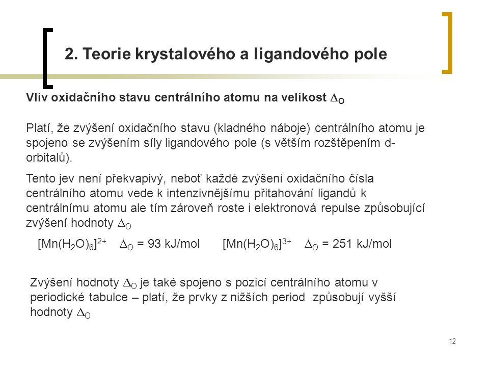 12 2. Teorie krystalového a ligandového pole Vliv oxidačního stavu centrálního atomu na velikost  O Platí, že zvýšení oxidačního stavu (kladného nábo