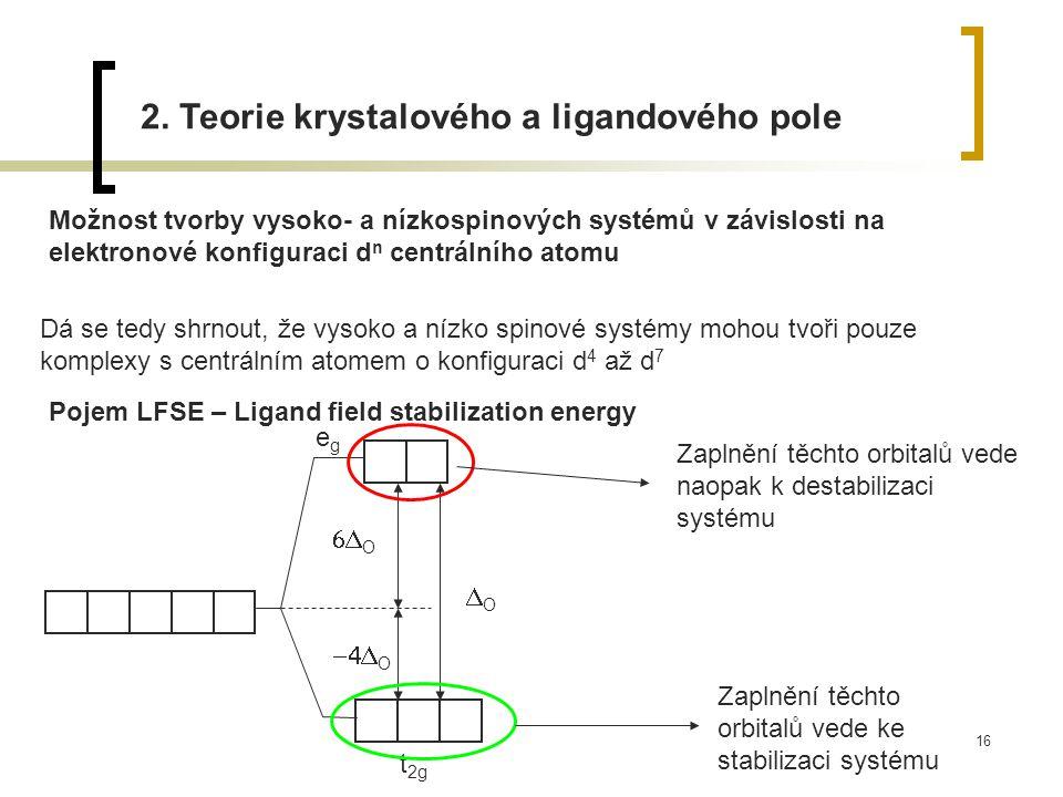 16 2. Teorie krystalového a ligandového pole Možnost tvorby vysoko- a nízkospinových systémů v závislosti na elektronové konfiguraci d n centrálního a