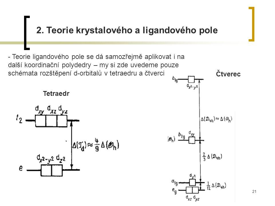 21 2. Teorie krystalového a ligandového pole - Teorie ligandového pole se dá samozřejmě aplikovat i na další koordinační polydedry – my si zde uvedeme