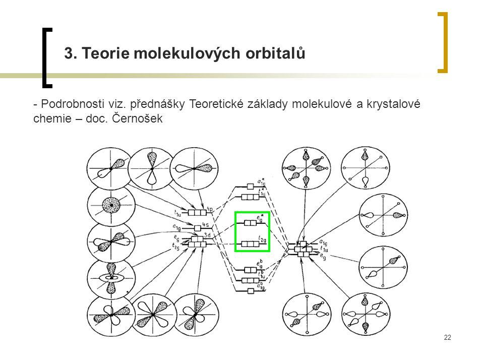 22 3. Teorie molekulových orbitalů - Podrobnosti viz. přednášky Teoretické základy molekulové a krystalové chemie – doc. Černošek