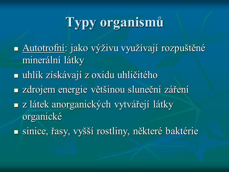  Heterotrofní: rozklad organických látek vytvářených autotrofy  tyto látky přeměňují a postupně proměňují v látky opět anorganické  baktérie, houby, živočichové, zcela výjimečně rostliny ___________________________________________  mixotrofní organismy – např.