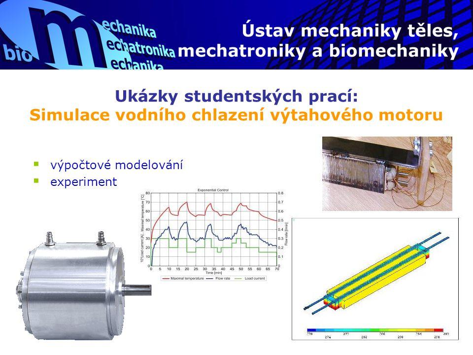 Ukázky studentských prací: Simulace vodního chlazení výtahového motoru  výpočtové modelování  experiment
