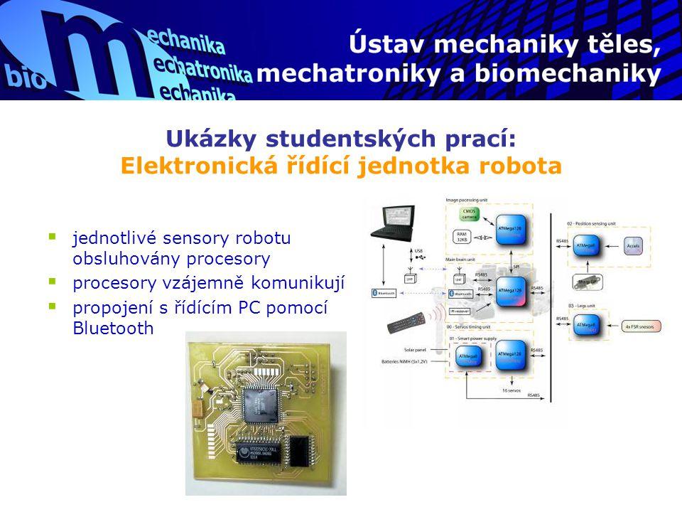 Ukázky studentských prací: Elektronická řídící jednotka robota  jednotlivé sensory robotu obsluhovány procesory  procesory vzájemně komunikují  pro