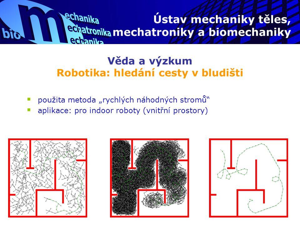 """Věda a výzkum Robotika: hledání cesty v bludišti  použita metoda """"rychlých náhodných stromů""""  aplikace: pro indoor roboty (vnitřní prostory)"""