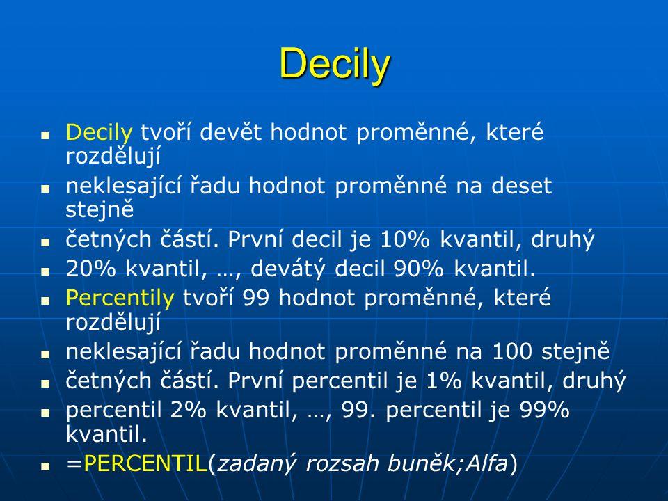Decily   Decily tvoří devět hodnot proměnné, které rozdělují   neklesající řadu hodnot proměnné na deset stejně   četných částí. První decil je