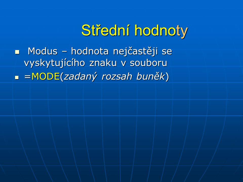 Střední hodnoty  Modus – hodnota nejčastěji se vyskytujícího znaku v souboru  =MODE(zadaný rozsah buněk)