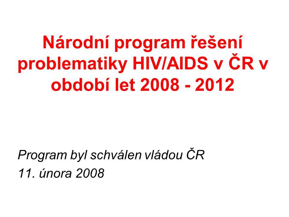 Národní program řešení problematiky HIV/AIDS v ČR v období let 2008 - 2012 Program byl schválen vládou ČR 11.