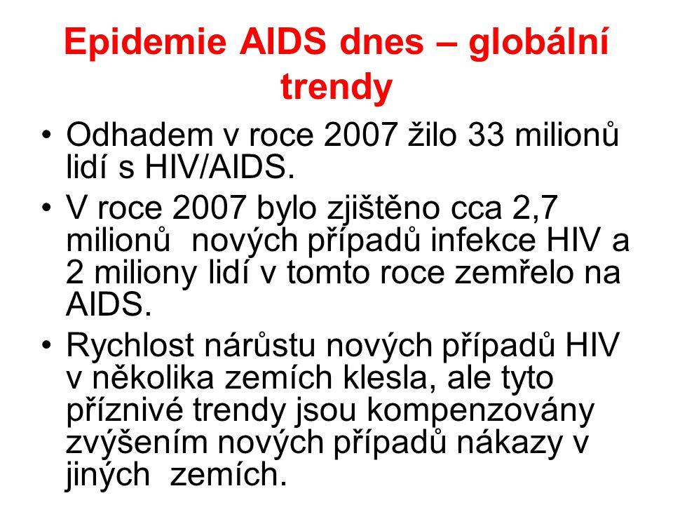 Epidemie AIDS dnes – globální trendy •Odhadem v roce 2007 žilo 33 milionů lidí s HIV/AIDS.