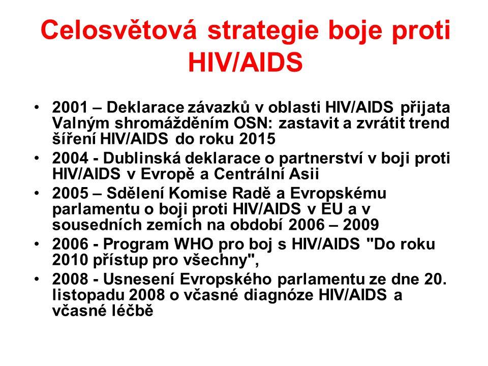 Celosvětová strategie boje proti HIV/AIDS •2001 – Deklarace závazků v oblasti HIV/AIDS přijata Valným shromážděním OSN: zastavit a zvrátit trend šíření HIV/AIDS do roku 2015 •2004 - Dublinská deklarace o partnerství v boji proti HIV/AIDS v Evropě a Centrální Asii •2005 – Sdělení Komise Radě a Evropskému parlamentu o boji proti HIV/AIDS v EU a v sousedních zemích na období 2006 – 2009 •2006 - Program WHO pro boj s HIV/AIDS Do roku 2010 přístup pro všechny , •2008 - Usnesení Evropského parlamentu ze dne 20.