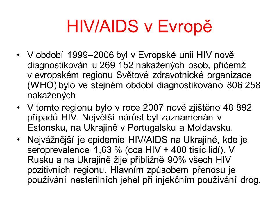 HIV/AIDS v Evropě •V období 1999–2006 byl v Evropské unii HIV nově diagnostikován u 269 152 nakažených osob, přičemž v evropském regionu Světové zdravotnické organizace (WHO) bylo ve stejném období diagnostikováno 806 258 nakažených •V tomto regionu bylo v roce 2007 nově zjištěno 48 892 případů HIV.