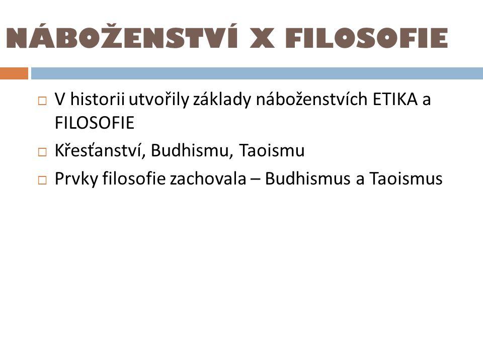 NÁBOŽENSTVÍ X FILOSOFIE  V historii utvořily základy náboženstvích ETIKA a FILOSOFIE  Křesťanství, Budhismu, Taoismu  Prvky filosofie zachovala – B